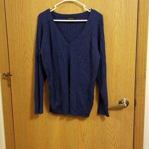 Lane Bryant Blue Ribbed V-Neck Sweater